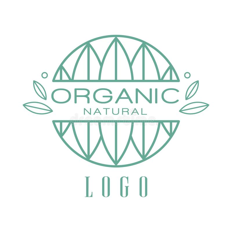 Organic natural logo, design element can be used for healthy products, natural cosmetics, premium quality food and. Drinks, packaging vector Illustration stock illustration
