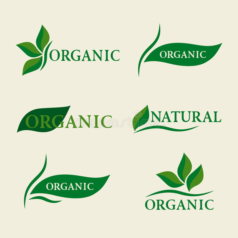 Organic natural logo design template signs with green leaves. Vector illustration of Organic natural logo design template signs with green leaves. Set of badges