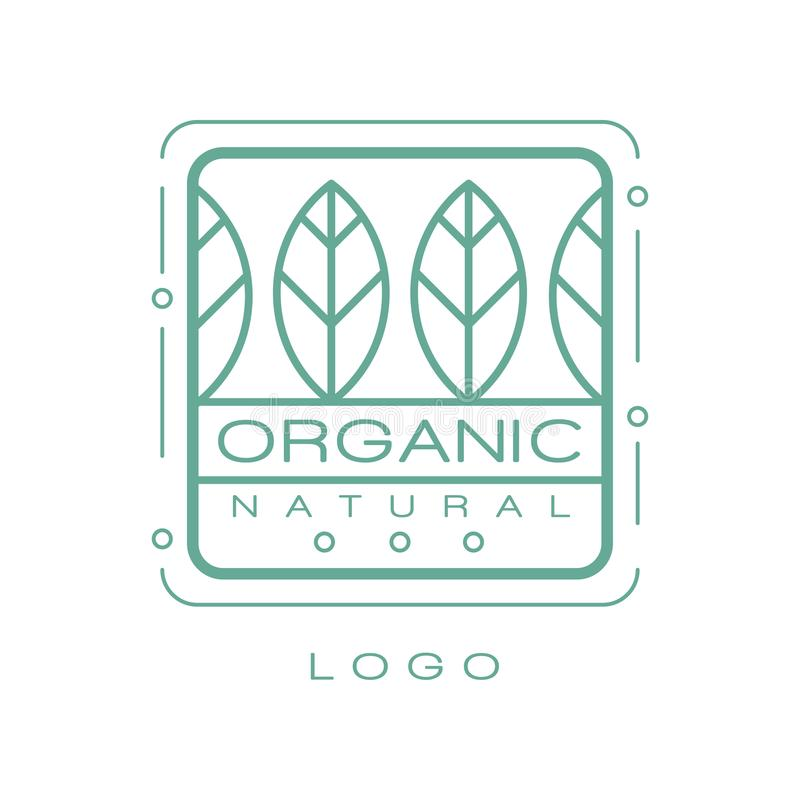Organic natural logo, eco badge for healthy products, natural cosmetics, premium quality food and drinks, packaging. Vector Illustration isolated on a white vector illustration