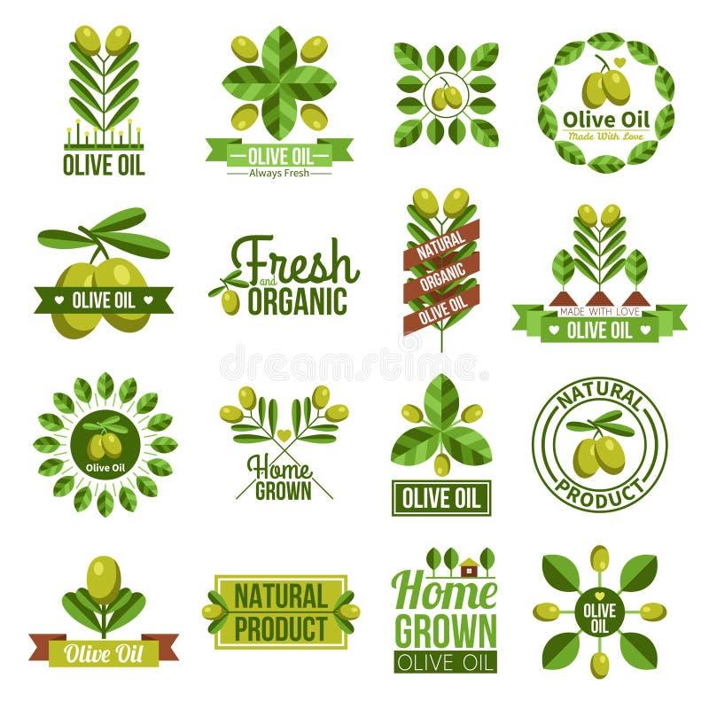 Organic Natural Olive Oil Label Set stock photo