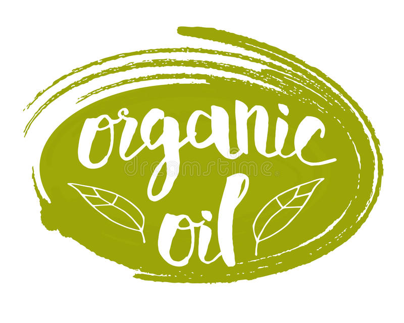 Organic oil hand drawn isolated label. Organic oil hand drawn label isolated vector illustration. Natural beauty, healthy lifestyle, eco spa, bio care ingredient vector illustration