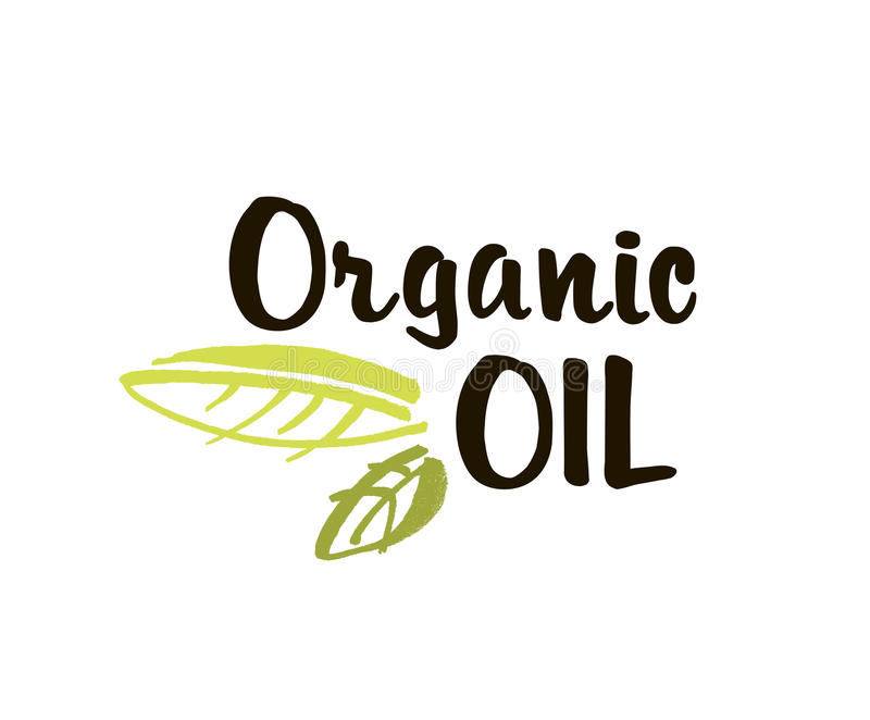 Organic oil hand drawn label isolated vector illustration. Natural beauty, healthy lifestyle, eco spa, bio care. Ingredient. Organic oil badge, icon, logo for royalty free illustration