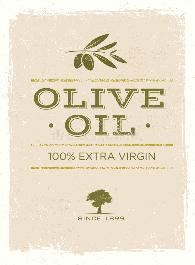 Organic Olive Oil Rough Vector Illustration on Grunge Background.  stock illustration