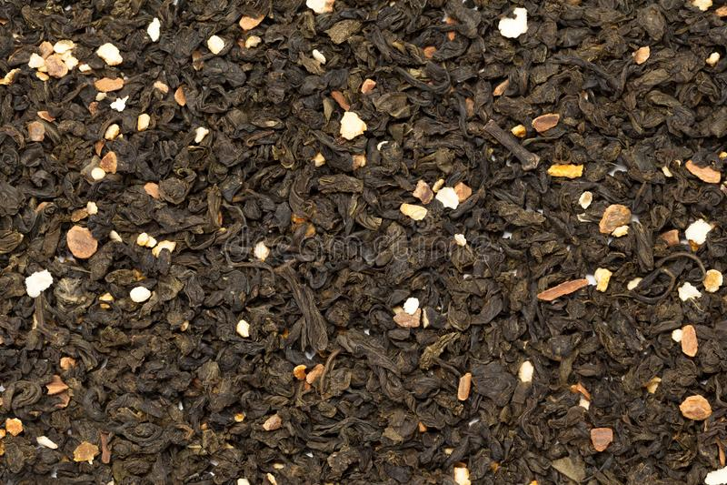 Organic Orange blossom Citrus sinensis green tea. Macro closeup background texture. Top view stock photography