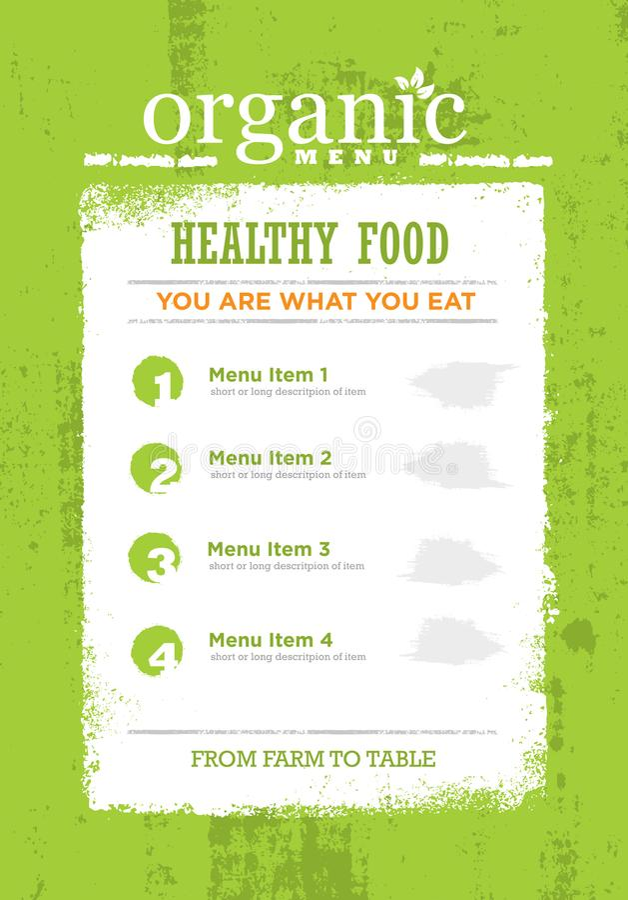 Organic Paleo Rough Food Menu Concept. Eco Green Grunge Frame Design Element On Textured Background. royalty free illustration