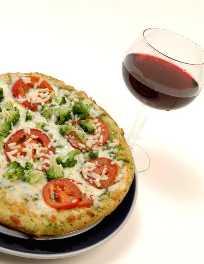 Organic pizza wine stock photo