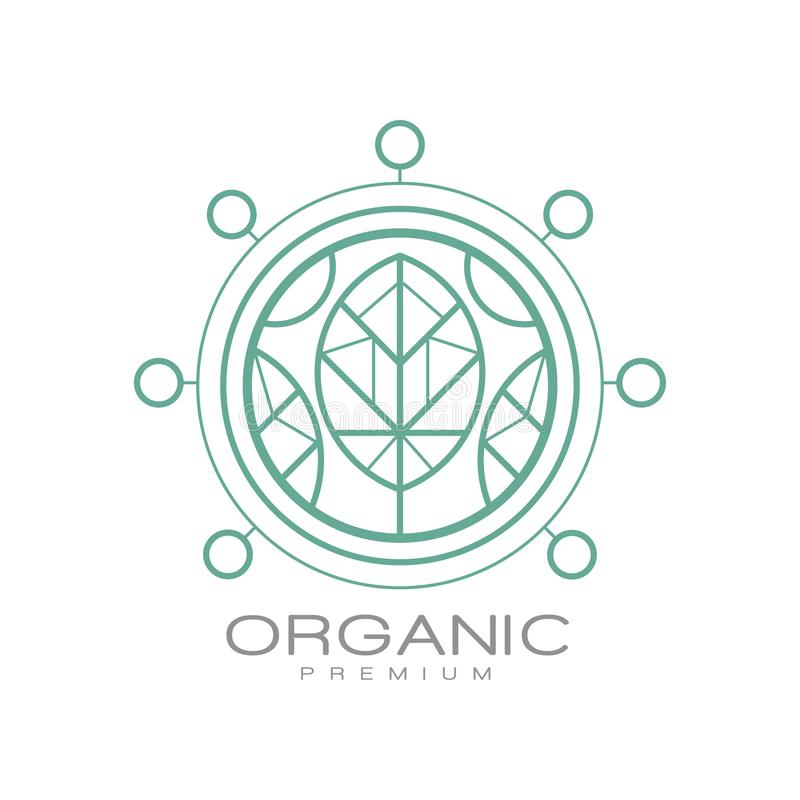 Organic premium logo, ecology sign for organic healthy products, natural cosmetics, fresh quality food and drinks. Packaging vector Illustration isolated on a vector illustration