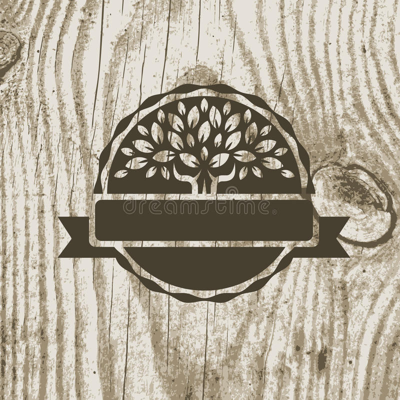 Organic product badge with tree on wooden texture. Vector illustration background stock illustration