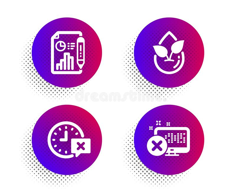 Organic product, Report document and Time icons set. Reject access sign. Leaf, Growth chart, Remove alarm. Vector. Organic product, Report document and Time royalty free illustration