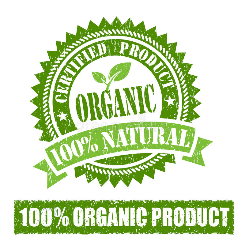 Organic Product Rubber Stamp stock illustration