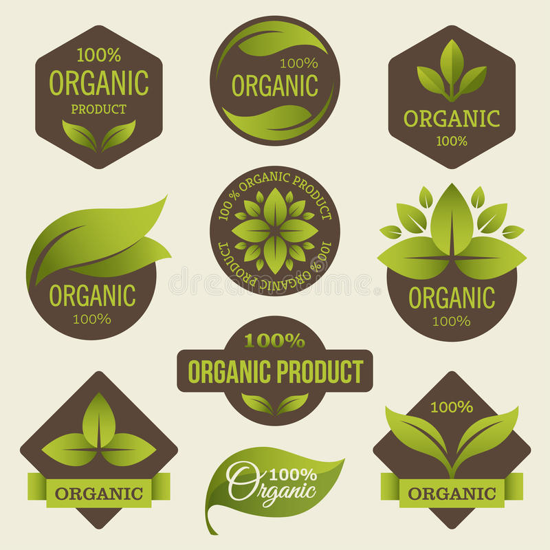 Organic products labels royalty free illustration