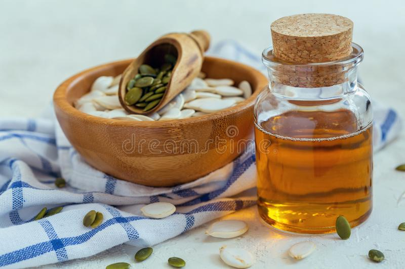 Bottle with pumpkin seed oil. stock image