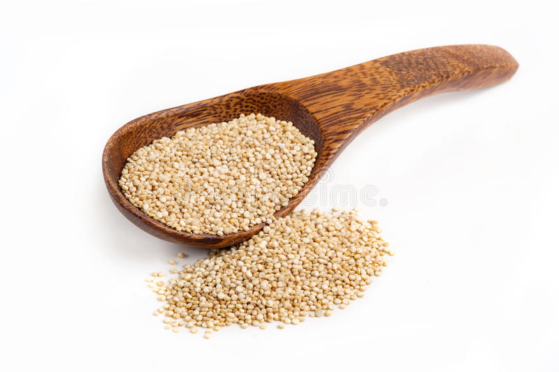 Organic Quinoa seeds with white background stock images