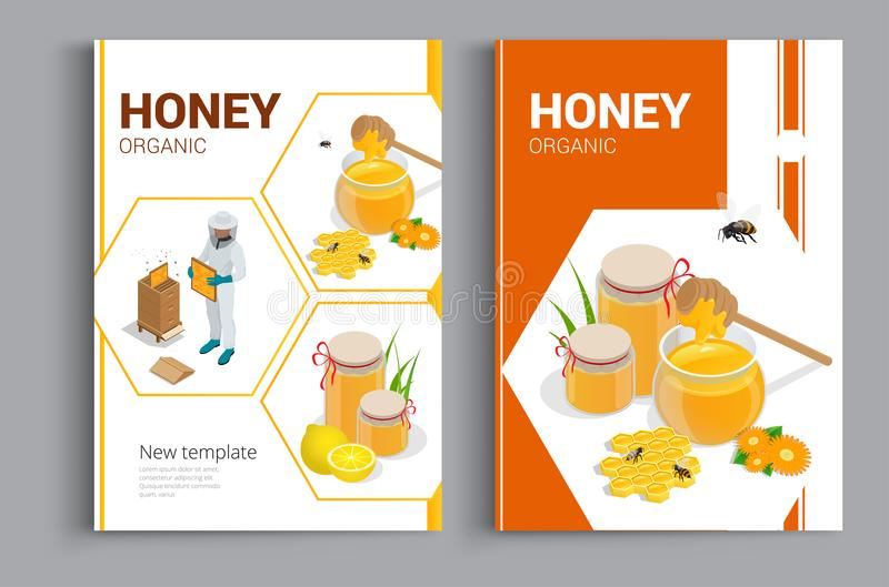 Organic raw honey design brochure. Abstract composition. A4 brochure cover design of honey. Fancy title sheet model vector illustration