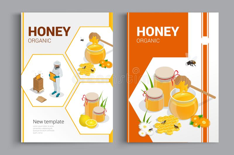 Organic raw honey designe brochure. Abstract composition. A4 brochure cover design of honey. Fancy title sheet model vector illustration