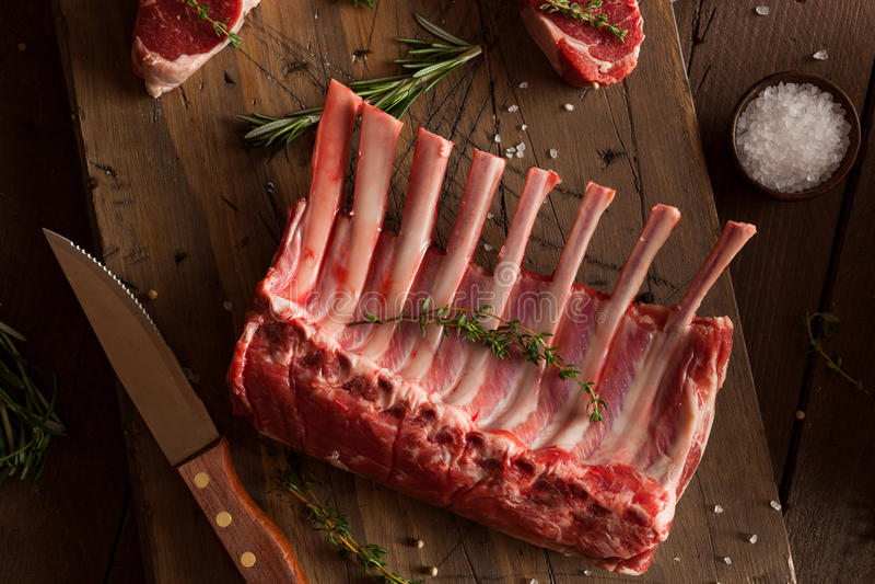 Organic Raw Lamb Chops royalty free stock photos