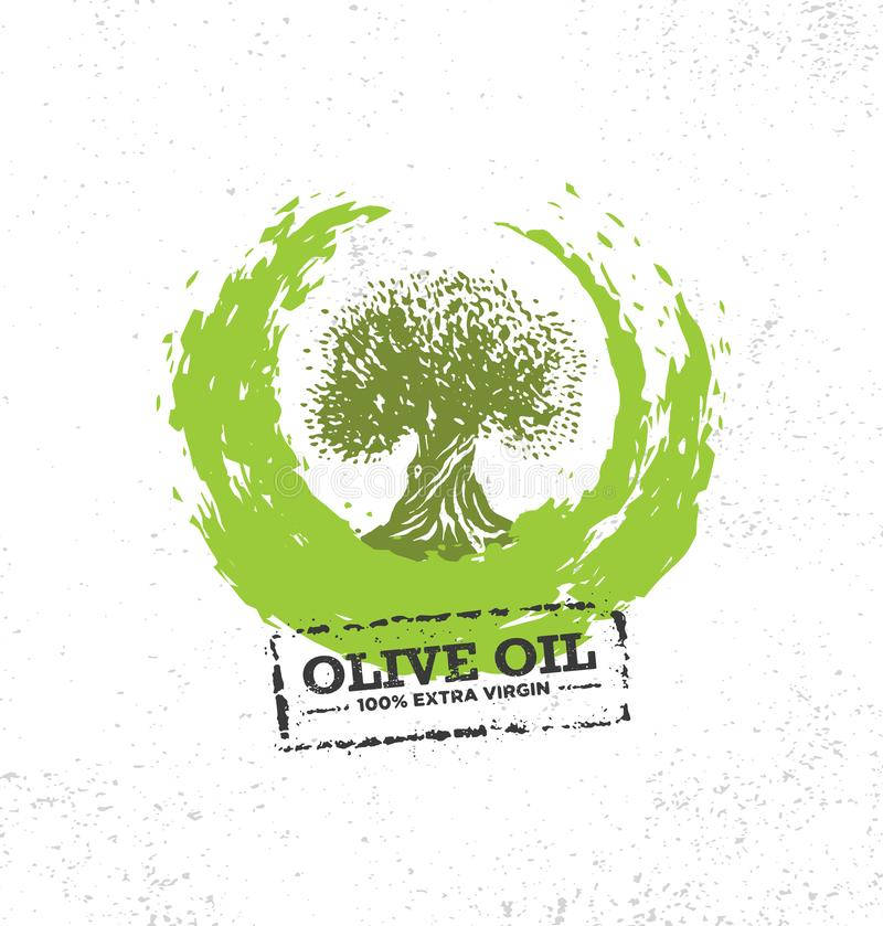Organic Raw Olive Oil Vector Creative Design Element. Extra Virgin Eco Food Label Concept On Raw Background.  stock illustration