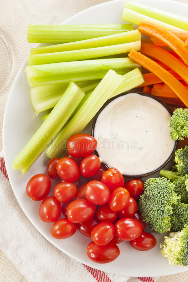 Download Organic Raw Vegetables With Ranch Dip Stock Image - Image: 37977137