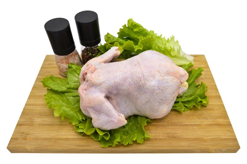Organic raw whole chicken ready for cooking. White meat royalty free stock photography