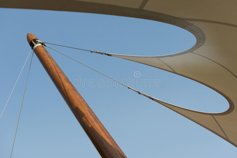 Organic shaped tent canvas to a wooden post stock photos