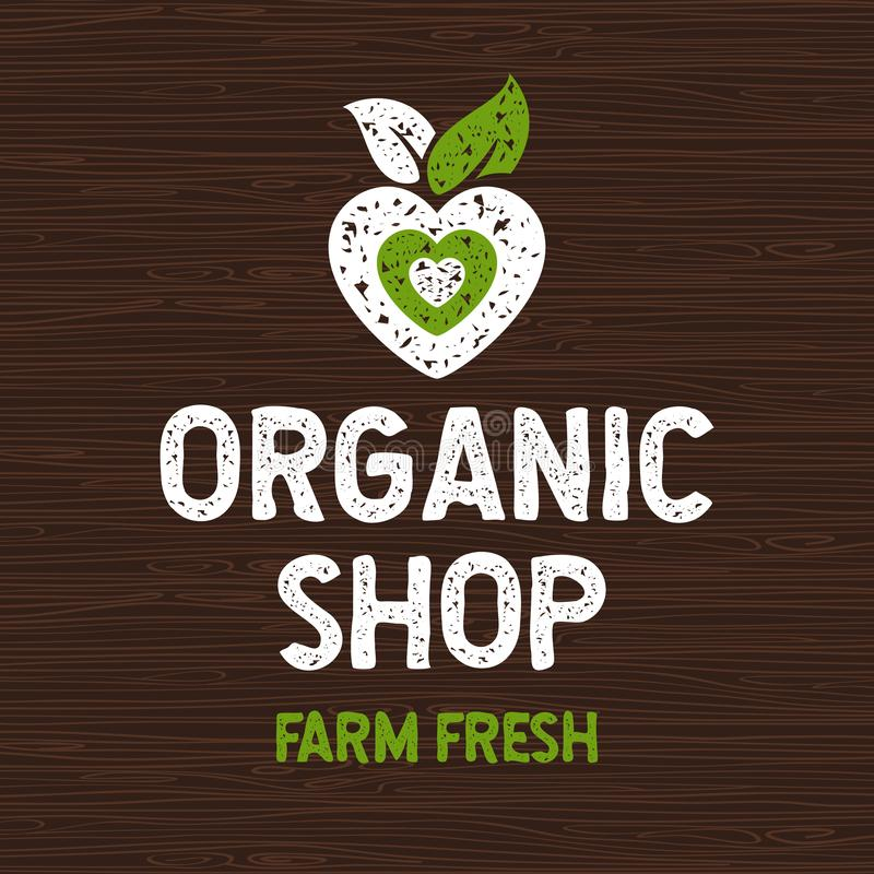 Organic shop logo, farm fresh food label, cutting board, rays, wood, elements. vector illustration