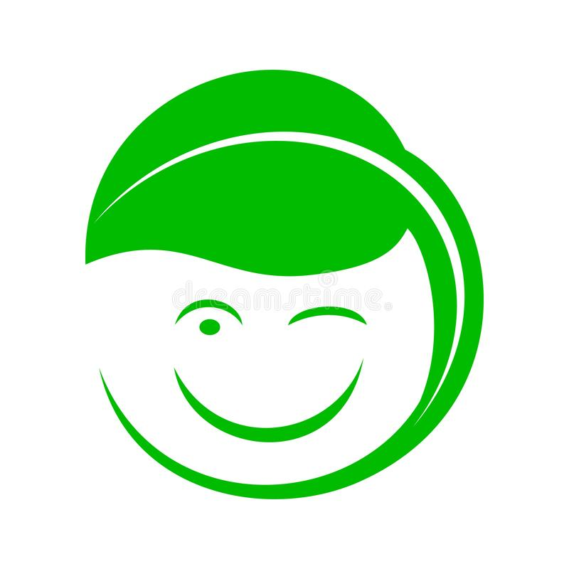 Organic smiley with green leaf icon, simple style. Organic smiley with green leaf icon in simple style royalty free illustration