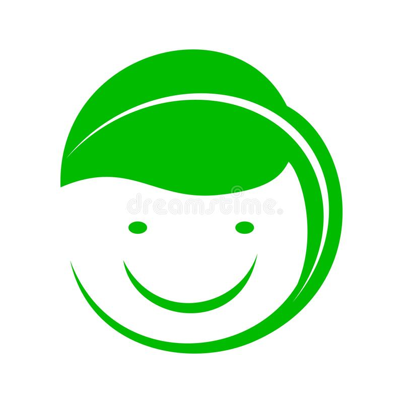 Organic smiley with green leaf icon, simple style. Organic smiley with green leaf icon in simple style stock illustration