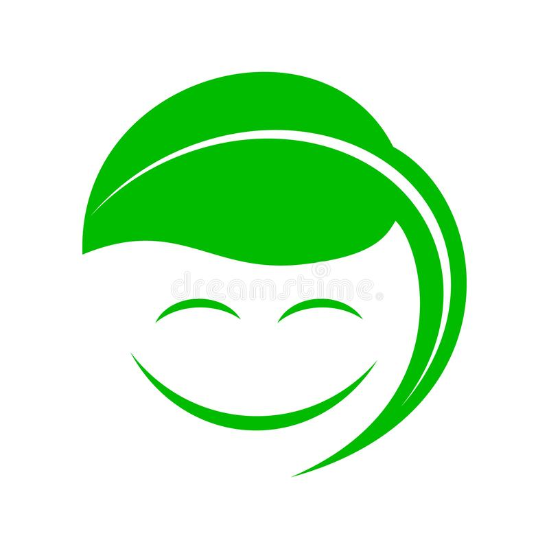 Organic smiley with green leaf icon, simple style. Organic smiley with green leaf icon in simple style on a white background stock illustration