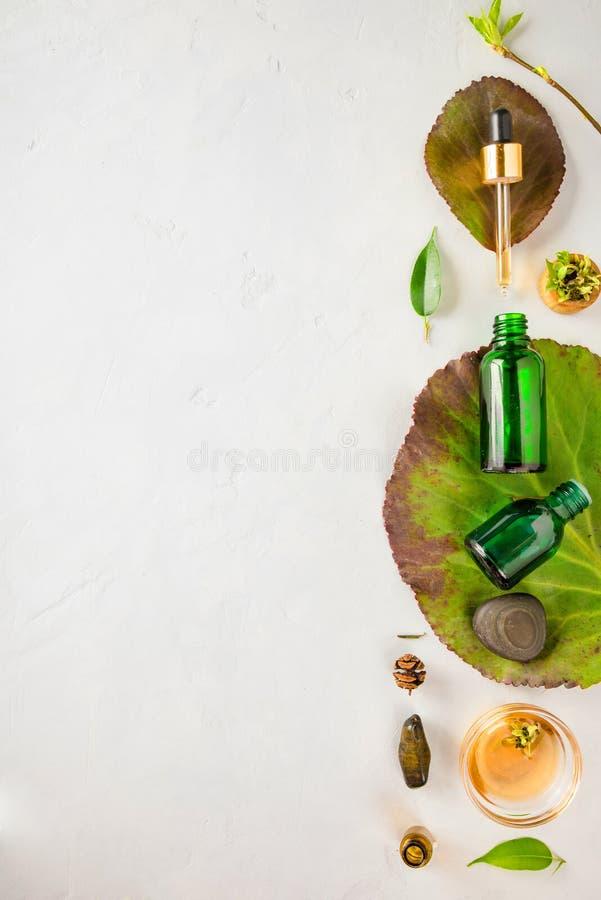 Organic Spa Schoonheidsmiddel met Kruideningrediënten Plantaardig serum voor huid met kruidenuittreksels glasfles met een pipet royalty-vrije stock foto