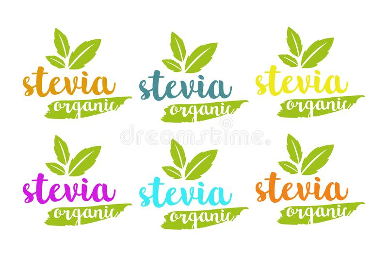 Organic stevia or sweet grass vector logo set in different colors with herbal leaves stock illustration
