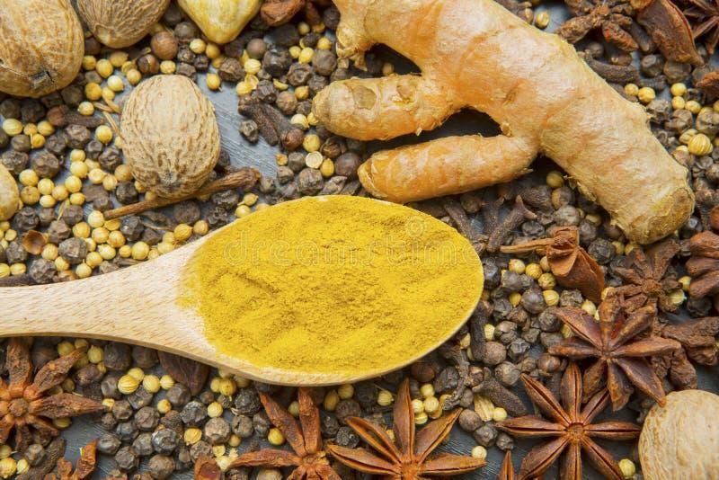 Organic turmeric powder in a wooden spoon royalty free stock photos