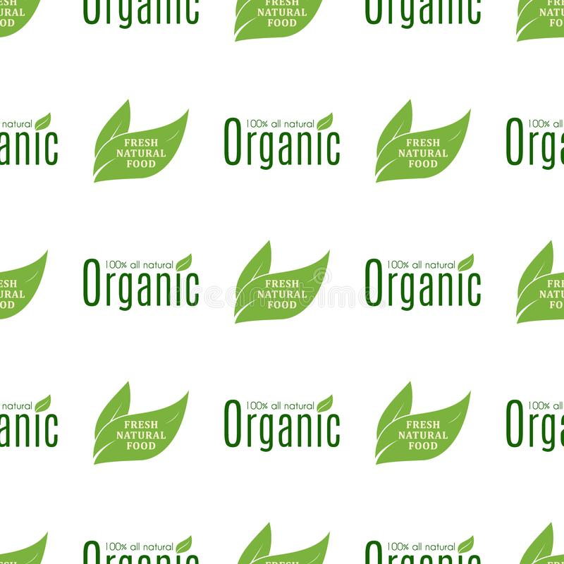 Organic vegan healthy food eco restaurant labels nature diet product seamless pattern background vector illustration stock illustration
