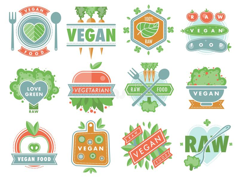 Organic vegan healthy food eco restaurant logo badges labels with vegetarian raw nature food diet designs vector. Organic vegan food healthy eco restaurant logo stock illustration