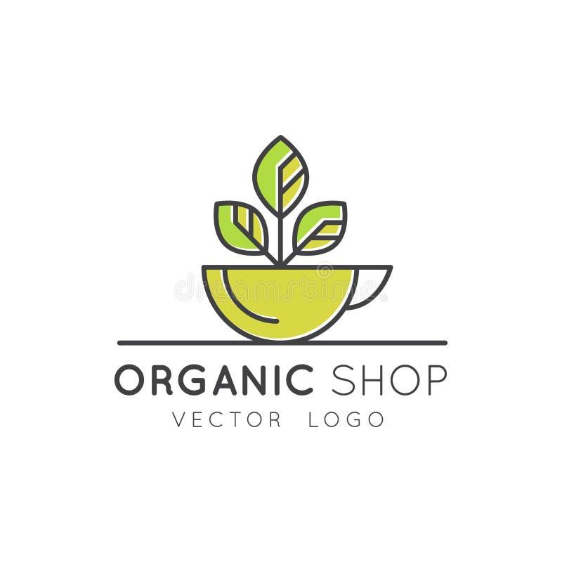 Organic Vegan Healthy Shop or Store. Green Natural Vegetable and Fruit Symbols, Farmer Market Countryside stock illustration