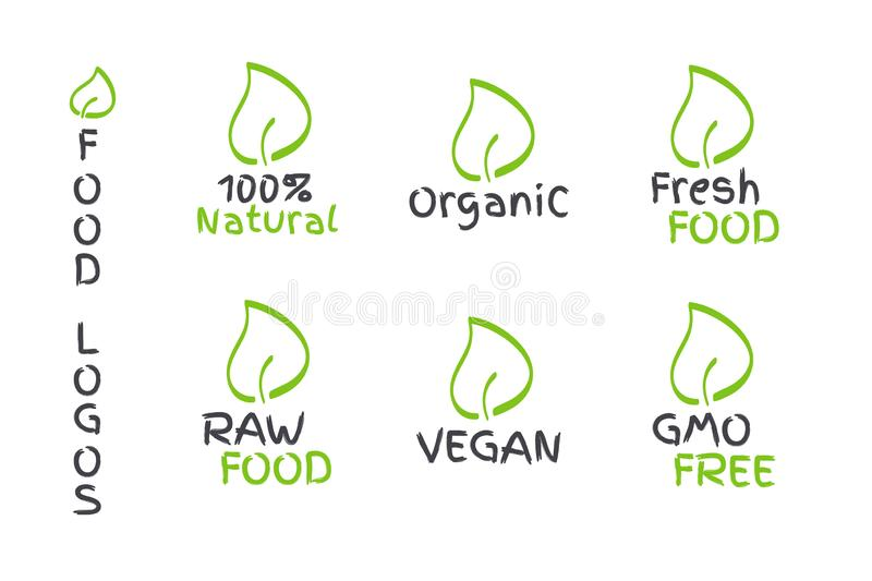 Organic, Vegan, Raw, Fresh Food, GMO Free, 100% Natural label with leaf. Vector logos, signs. Symbols for healthy eating, health. Organic, Vegan, Raw, Fresh Food stock illustration