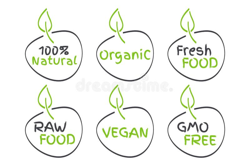 Organic, Vegan, Raw, Fresh Food, GMO Free, 100% Natural labels. Green and grey vector logos, signs. Symbols for healthy eating. Health, menu, market, product royalty free illustration