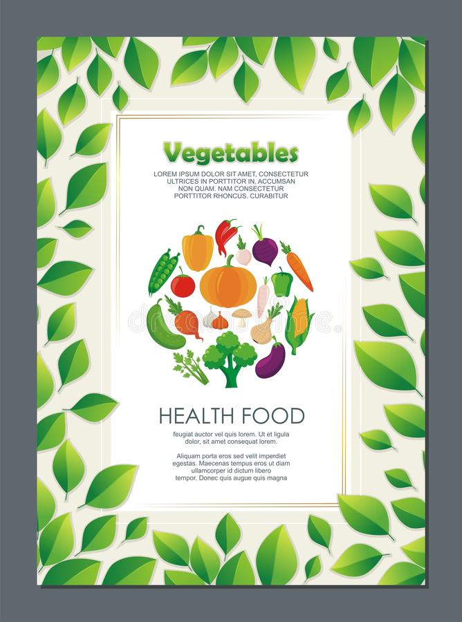 Organic Vegetables Flyer, with new and lovely design. Organic Vegetables Flyer, with lovely, stylish and colorful design, suitable for banner, flyer, background stock illustration