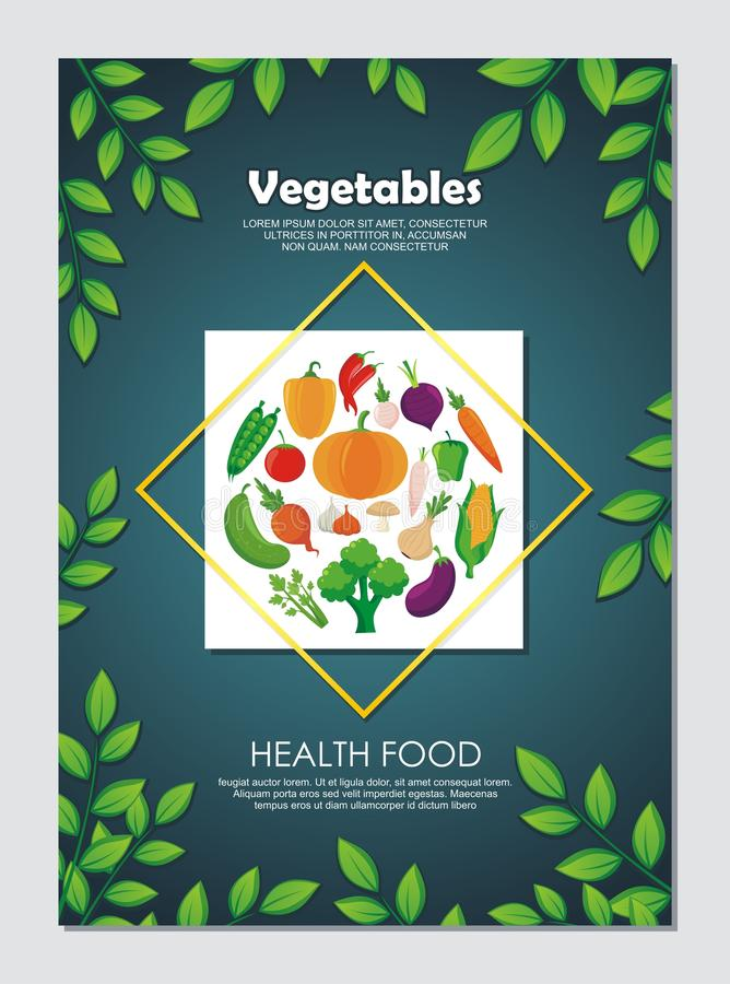 Organic Vegetables Flyer, with new and lovely design. Organic Vegetables Flyer, with lovely, stylish and colorful design, suitable for banner, flyer, background royalty free illustration