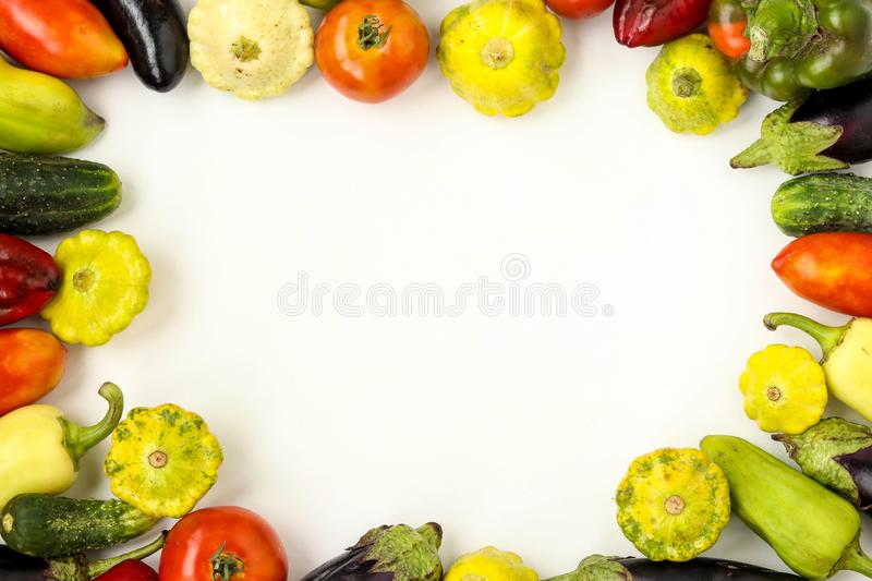 Organic Vegetables Frame: tomatoes, patissons, peppers, cucumbers and eggplant on white background, Organic food concept, royalty free stock photography