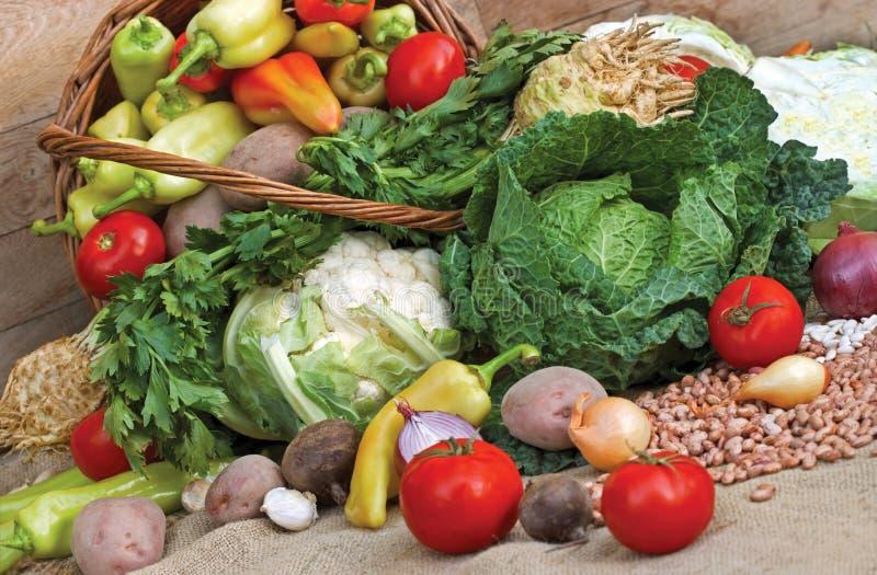 Organic vegetables. Fresh vegetables (organic vegetables) in a wicker basket stock photo