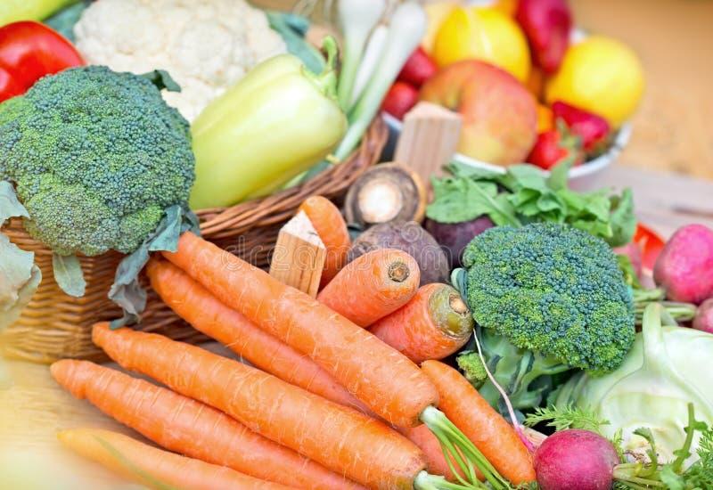 Organic vegetables. Fresh Organic vegetables in wicker basket stock image