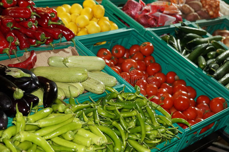 Organic vegetables and fruits are sold stock photo