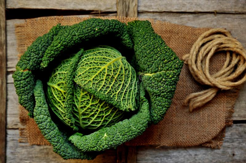 Organic vegetables : green cabbage on a wooden board royalty free stock photography