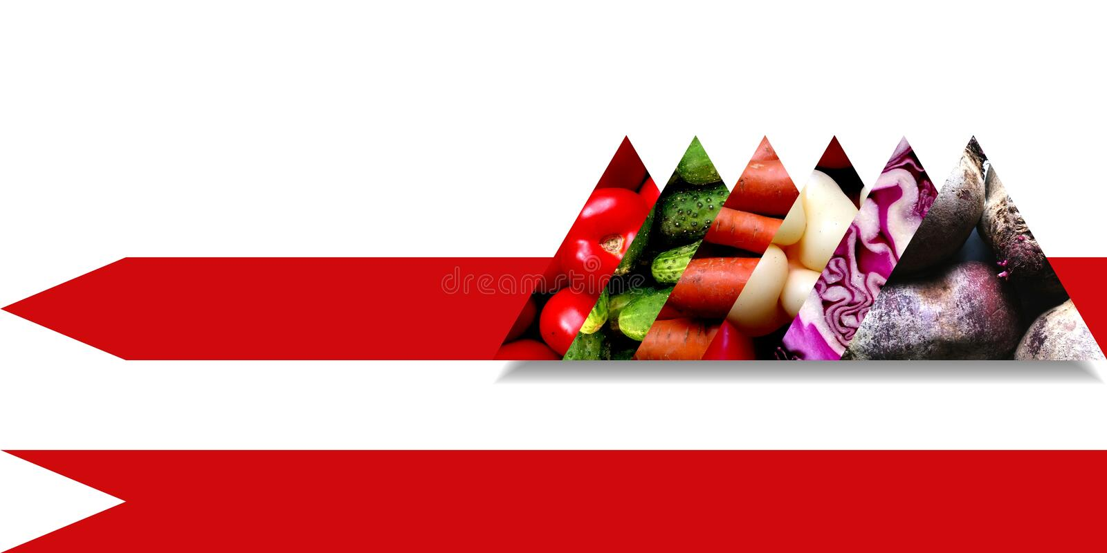 Organic vegetables inside six abstract triangles. Collection of six aligned triangles full of different vegetables: tomatoes, cucumbers, carrots, sweet peppers royalty free illustration