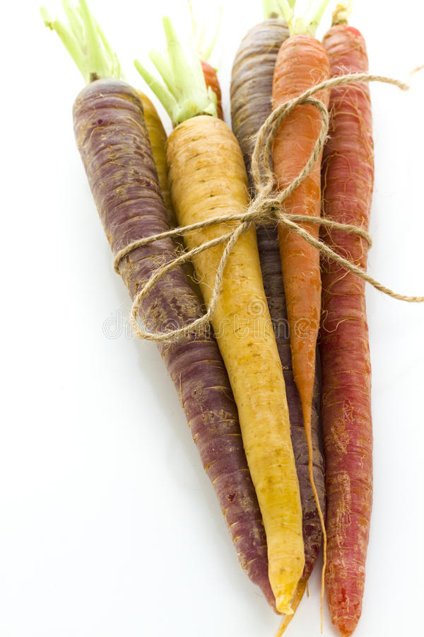 Organic Vegetables. Organic rainbow carrots from the local farm royalty free stock images