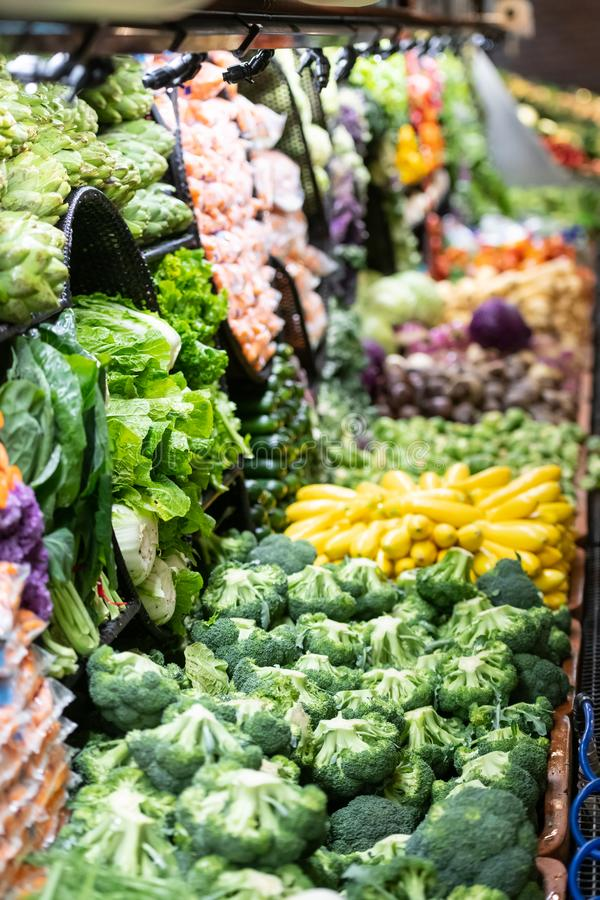 Greengrocers area in a supermarket royalty free stock photo