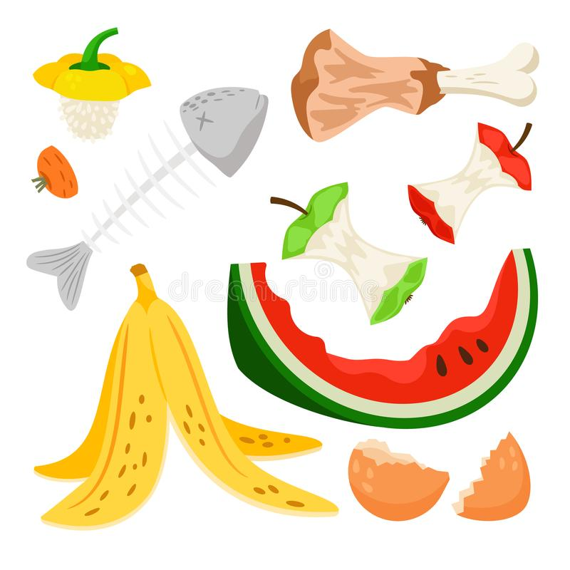 Organic waste, food compost rubbish isolated on white background. Organic waste, food compost collection isolated on white background. Banana and watermelon royalty free illustration