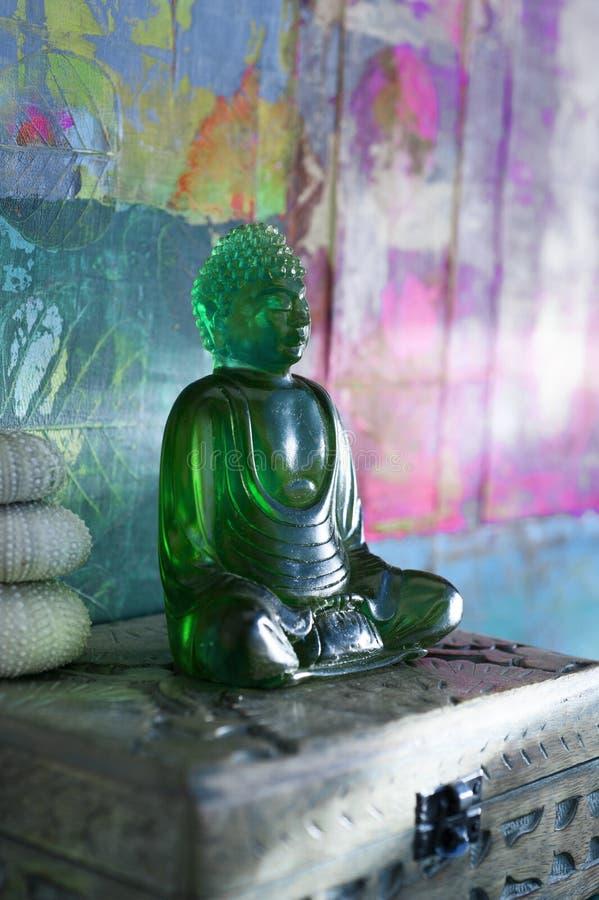 Green Buddha Light Meditation stock photos
