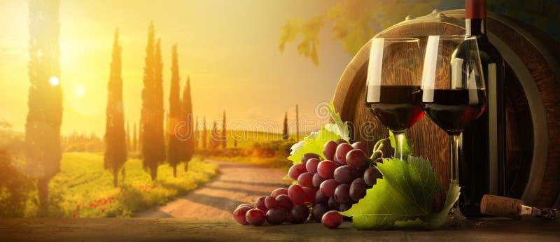 Art organic wine tasting at a farm winery stock image