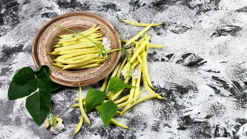 Organic yellow wax bean on an earthenware plate. top view copy space royalty free stock photo